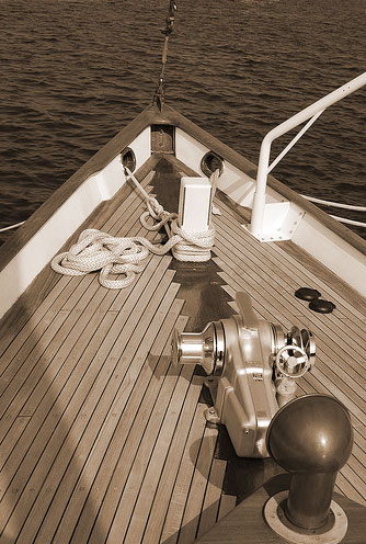 bow of restored classic sailboat